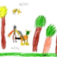 Dibujo de un niño del colegio Mayer de Torrelavega, dónde dio una charla